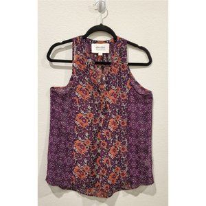 ALICE BLUE StitchFix Purple Floral Sleeveless